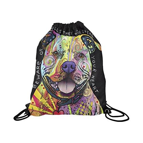 a Custom Drawstring Bag String Backpack for Unisex Beware Of Pit Bulls Dog ()