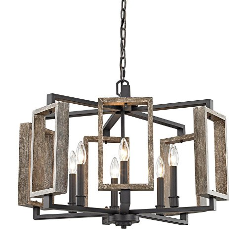 Home Decorators Collection 6-Light Aged Bronze Pendant with Wood (Aged Bronze Pendant Lamp)