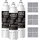 AQUACREST NSF 401, 53&42 Refrigerator Water Filter and Air Filter, Compatible with LG LT800P, ADQ73613401, ADQ73613402, Kenmore 9490, 46-9490 and LT120F (Pack of 3)