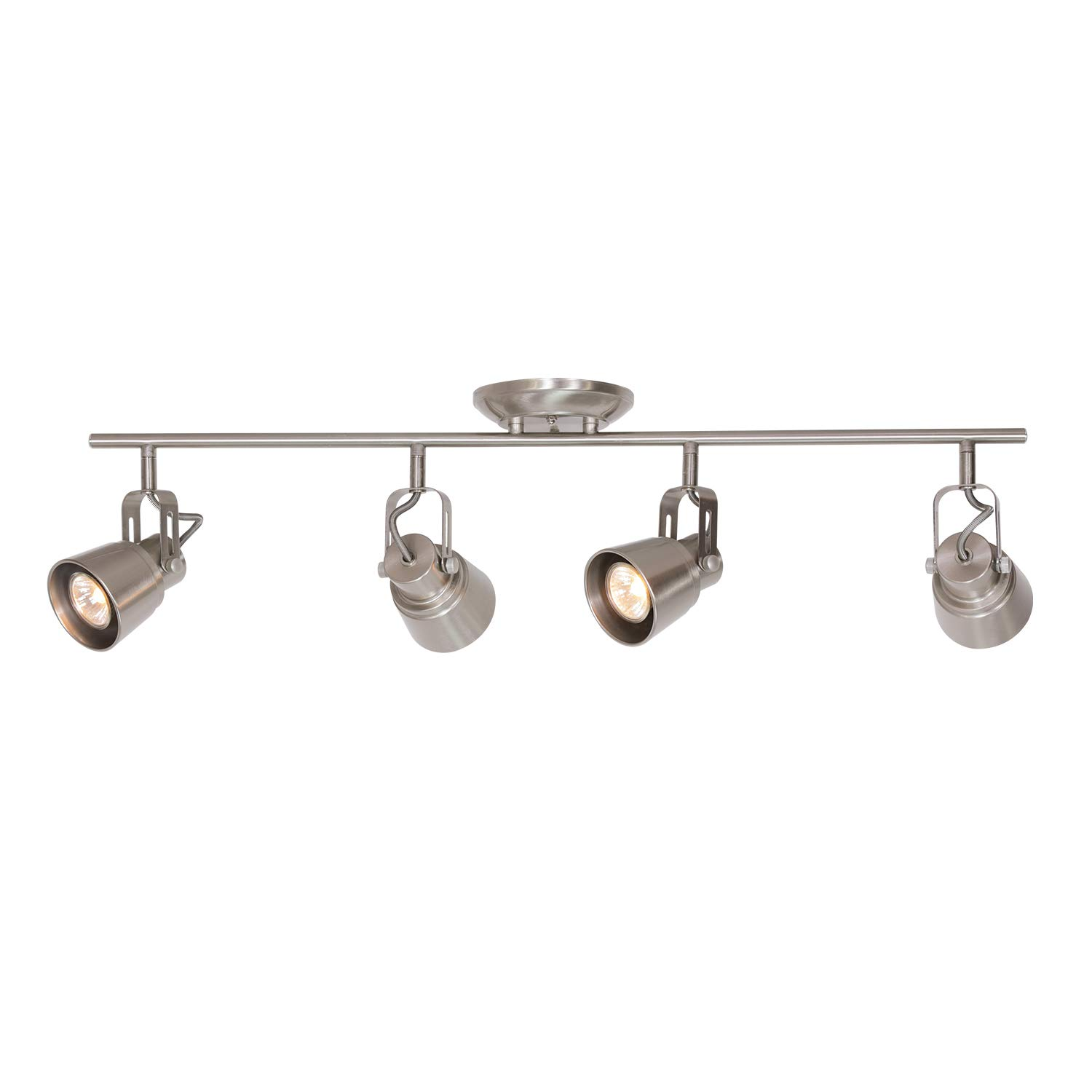 MELUCEE 4 Lights Ceiling Track Lighting Kit, Brushed Nickel Ceiling Spotlights Kitchen Track Lighting Fixtures Ceiling Wall Track Light Picture Lighting, 35W GU10 Base Halogen Bulbs Included