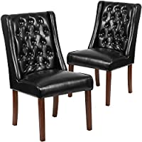 Flash Furniture 2 Pk. HERCULES Preston Series Black Leather Tufted Parsons Chair