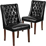 Flash Furniture 2 Pk. HERCULES Preston Series Black Leather Tufted Parsons Chair For Sale
