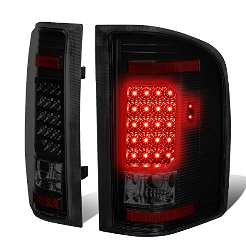 Pair of Black Housing Smoke Lens LED Brake Tail Lights Lamps for Chevy Silverado 07-14