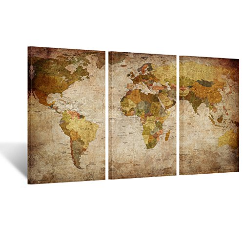Kreative Arts - Large Size Vintage World Map Giclee Canvas Prints Artwork Pictures Modern Stretched and Framed Paintings on Canvas Wall Art for Living Room Bedroom Home Decor (3Panel) Vintage Look World Map