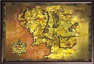 Framed Lord Of The Rings (Map Of Middle Earth) 36x24 Poster In Rust Finish Wood Frame Movie Art Print