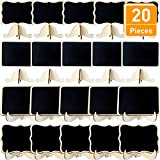 Blulu 20 Pieces Mini Chalkboards Wood Chalkboards Wedding Chalkboards Signs with Easel Stand for Parties, 4 Styles, Black