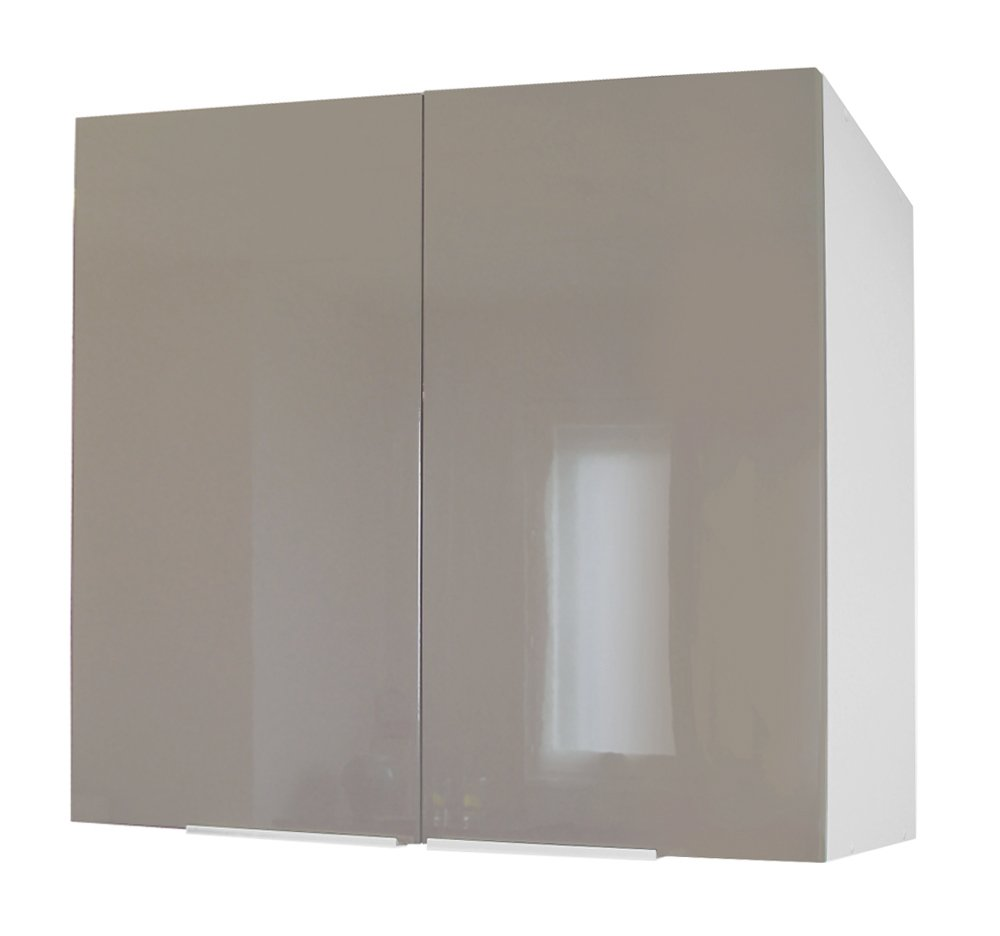 Berlenus Top Kitchen Cabinet with 2 Doors, Blanc Haute Brillance, 81x42x13 cm CP8HB