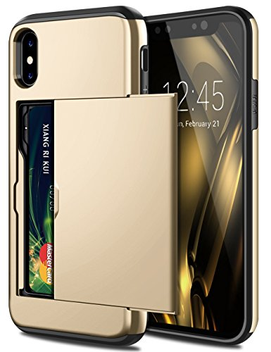 Metal Slider Case - SAMONPOW iPhone X Case, iPhone 10 Case,Hybrid iPhone X Wallet Case Card Holder Heavy Duty Protection Shockproof Defender Anti-Scratch Soft Rubber Bumper Cover Case for iPhone X - Metal Gold