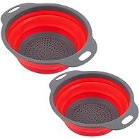 Strainer Basket, Washing Bowl Basket, Round Self-draining Strainer Household Vegetable for Kitchen Fruit(red)