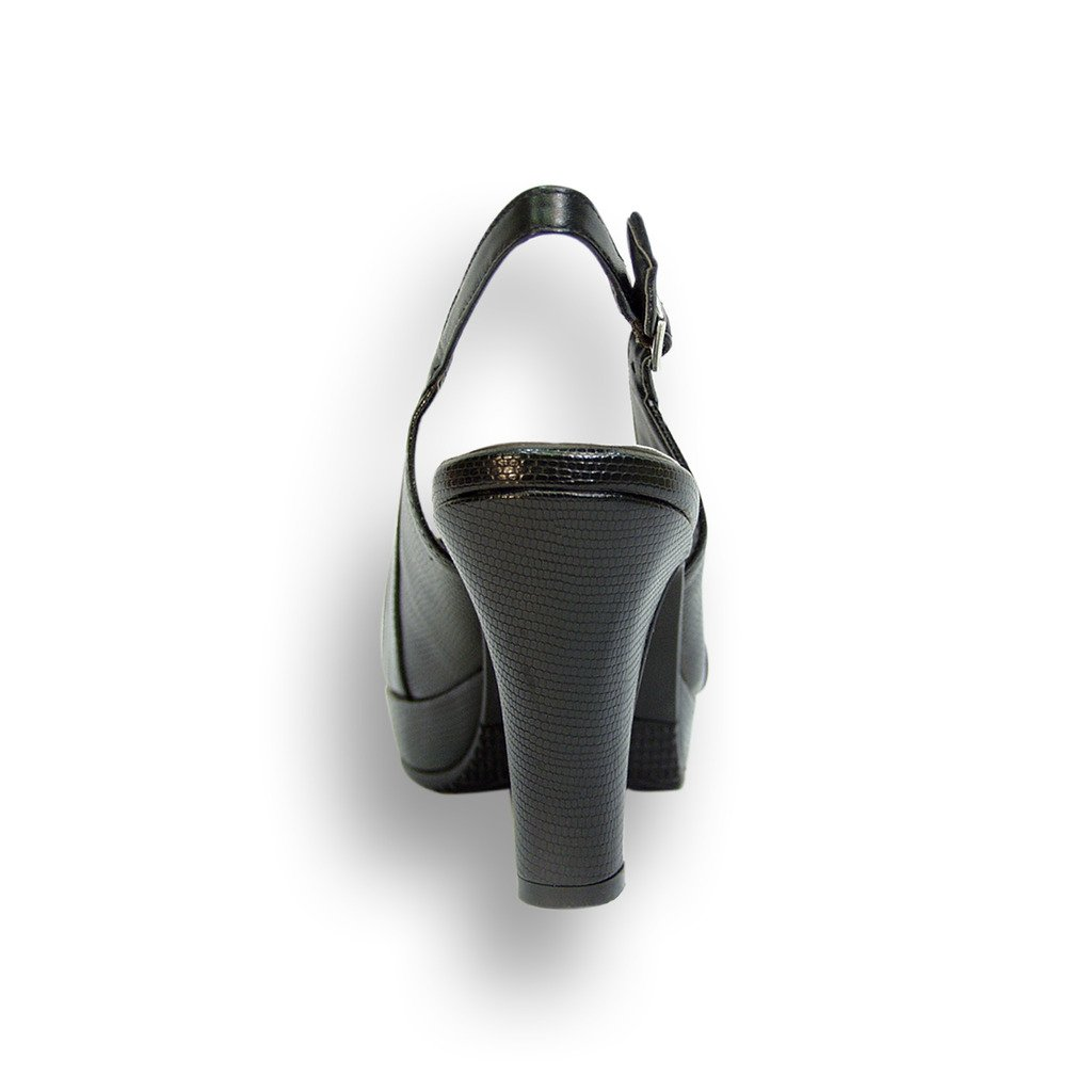 Peerage FIC Linda Women Wide Width Leather Slingback High Heel Measurement Platform Pump (Size & Measurement Heel Chart) B01CB4BAQU 9 E|Black 81c965