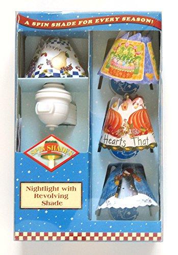 Spin Shades Nightlight with 4 Revolving Seasonal Shades - Snowman, Pumpkin, Fruit, Easter,