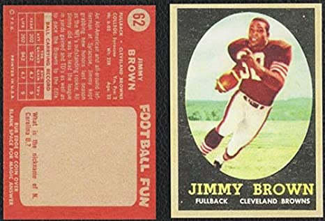 1958 Topps 62 Jim Brown Rookie Card Cleveland Browns