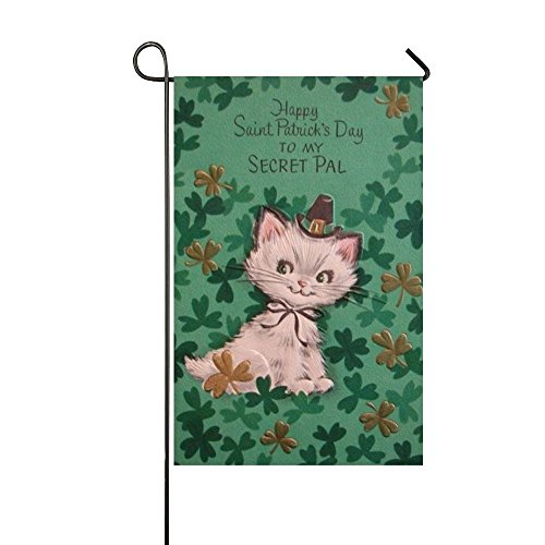 Blue Scarf Black Cat Hold Coffee Enjoy The Rainy Day House Flag - One Sided Decorative Outdoor (Secret Pal Ideas For Halloween)