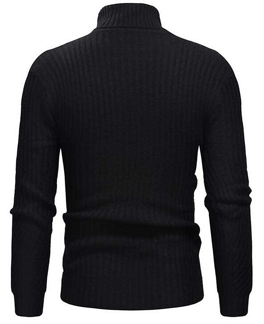 Bloomyma Mens Knitted Fall /& Winter Stripe Print Solid Color Slim Turtleneck Pullover Sweater Jumper