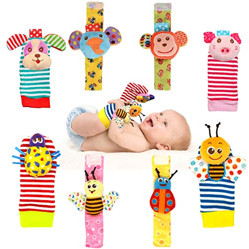 Bloobloomax Wrist Rattles Foot Finder Rattle Sock Baby Toddlor Toy,Rattle Toy,Arm Hand Bracelet Rattle,Feet Leg Ankle Socks,Activity Rattle Present Gift for Newborn Infant Babies Boy Girl Bebe
