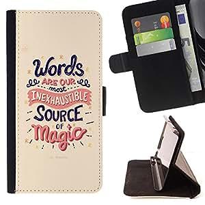 Devil Case- Estilo PU billetera de cuero del soporte del tir¨®n [solapa de cierre] Cubierta FOR Samsung Galaxy S5 V SM-G900 G9009 G9008V- Words Source Magice