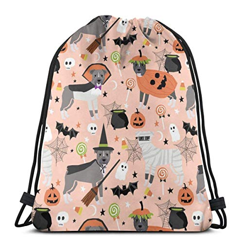 Pitbull Halloween Costume Dog Vampire Ghost Mummy Peach_17409 Custom Drawstring Shoulder Bags Gym Bag Travel Backpack Lightweight Gym for Man Women 16.9