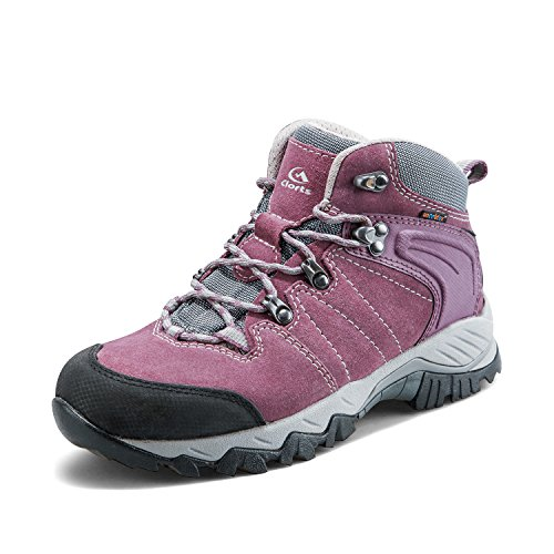 Clorts Women's Hiker Leather Waterproof Hiking Boot Outdoor Backpacking Shoe Purple HKM-822E US6.5