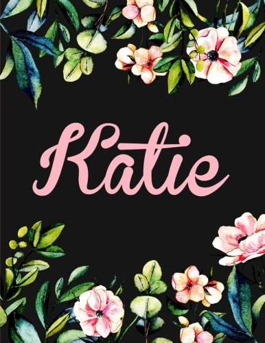 Download Katie: Personalised Katie Notebook/Journal For Writing 100 Lined Pages (Black Floral Design) pdf epub