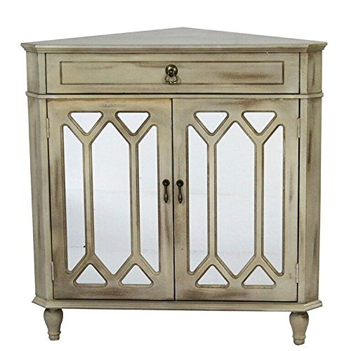 Heather Ann Creations The Dorset Collection Contemporary Style Wooden Double Door Floor Storage Living Room Corner Cabinet with Hexagonal Mirror Inserts and 1-Drawer, Taupe Wash
