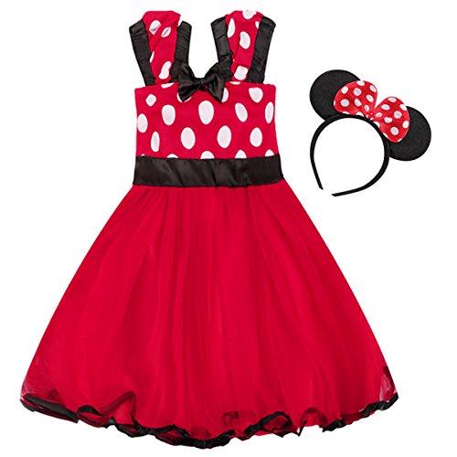 Minnie Costume Baby Girl Tutu Dress Mouse Ear Headband Polka Dot First Birthday Halloween Fancy Dress Up Princess Outfits 100 by OBEEII (Image #3)