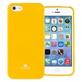 5s cases jelly - GOOSPERY Marlang Marlang iPhone SE/5S/5 Case - Yellow, Free Screen Protector [Slim Fit] TPU Case [Flexible] Pearl Jelly [Protection] Bumper Cover for Apple iPhoneSE 5S 5, IP5-JEL/SP-YEL