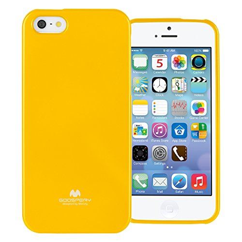 GOOSPERY Marlang Marlang iPhone SE/5S/5 Case - Yellow, Free Screen Protector [Slim Fit] TPU Case [Flexible] Pearl Jelly [Protection] Bumper Cover for Apple iPhoneSE 5S 5, IP5-JEL/SP-YEL (Banana Silicone Iphone 5s Case)