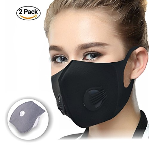 CFORWARD Sponge Dust Masks Activated Carbon Filtration Exhaust Gas Anti Pollen Allergy PM2.5 Face Mask for Running Cycling and Other Outdoor Activities, Pack of 2 by