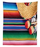 Lunarable Mexican Tapestry Twin Size, Mexican Culture Theme with Sombrero Straw Hat Maracas Serape Blanket Rug Picture, Wall Hanging Bedspread Bed Cover Wall Decor, 68 W X 88 L inches, Multicolor