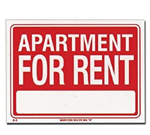 Bazic Products L-5-24 12 in. x 16 in. Apartment for Rent Sign - Box of 24
