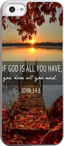 Case for Iphone 5C Bible Verse,Topgraph Apple Iphone 5C Slim Case Christian Quotes - John Tpu Protection
