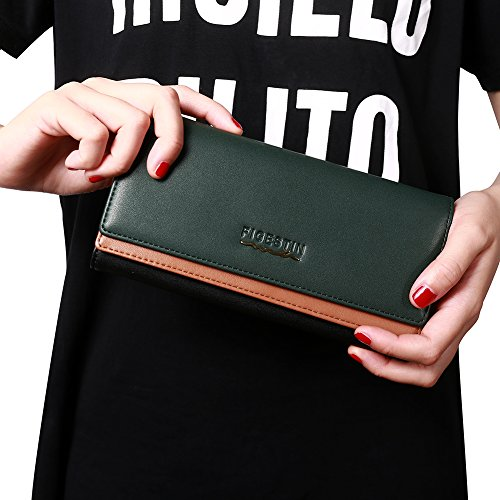 [Clearance] FIGESTIN Women Rfid Blocking Cowhide Leather Wallet With Zipper Large Capacity Credit Card Holder Evening Clutch Purse by FIGESTIN (Image #5)