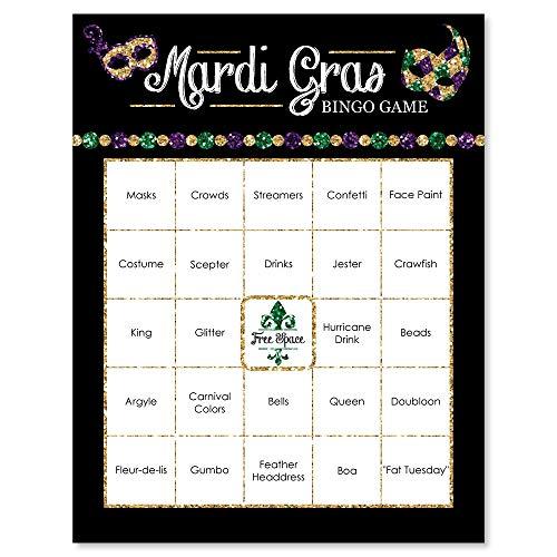 Mardi Gras - Masquerade Party Bingo Game & Bar Bingo Game Cards - 16 Count