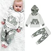 AMA(TM) Toddler Baby Girl Boy Deer Hooded Tops +Pants Outfits Clothes Set (6M, Grey 1)