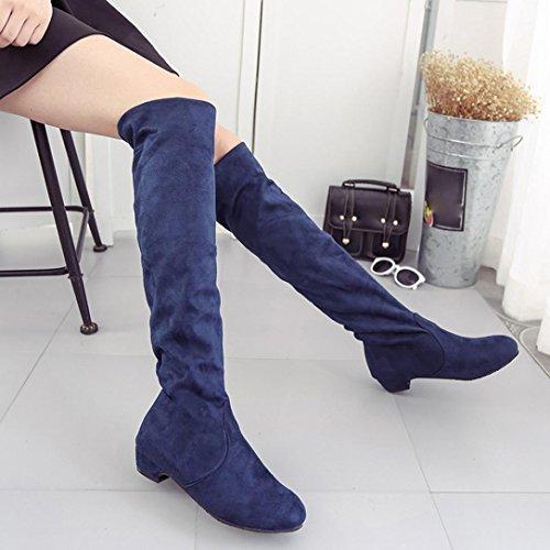 de alta botas para zapatos plana Azul Botas mujer gamuza pierna RETUROM Mujer 0Fpqx8C