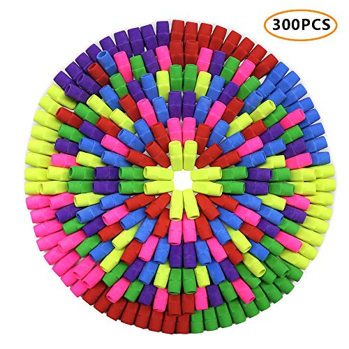 Habbi 300 Pcs Eraser Caps, Pencil Top Erasers, Pencil Cap Erasers, Eraser Tops, color Pencil Eraser Toppers, School Erasers for Kids, Use in Home, School, Office ()