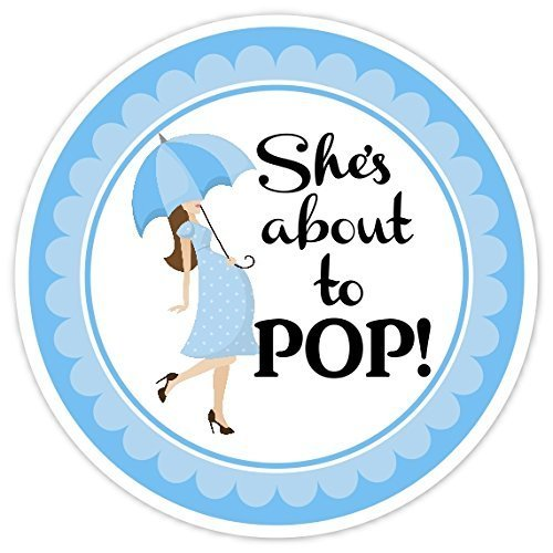 Amazon Com 36 Baby Shower Labels About To Pop Stickers Blue