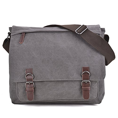 Large Vintage Canvas Messenger Shoulder Bag Causal Crossbody Bookbag Computer Laptop Bag Business Briefcase for 15″ Laptop