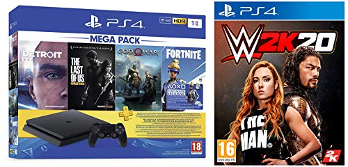 PS4 1TB Slim console (Free Games : Detroit /The Last of Us/God of War/Fortnight Voucher /PSN 3 Month Inside the Box & WWE 2K20 (PS4)