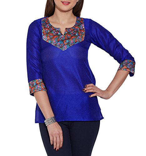 Clothes-For-WomenFaux-Silk-Polyester-Kurti-Top-Blue