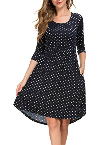 Women's Midi Dress 3/4 Sleeve Polka Dot O Neck Casual Tunic Pleated Loose Vintage Retro Swing Dresses (2XL, Black)