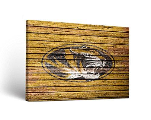 Victory Tailgate Missouri Mizzou Tigers Canvas Wall Art Weathered Design (18x24)