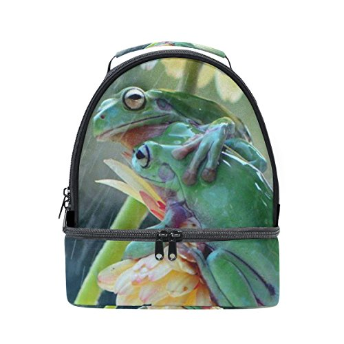 DEYYA Lovely Animal Tree Frog Green Insulated Lunch Bag Reusable Multifunctional Cooler And Warm Keeping Lunch Box for Adults Men Women Kids