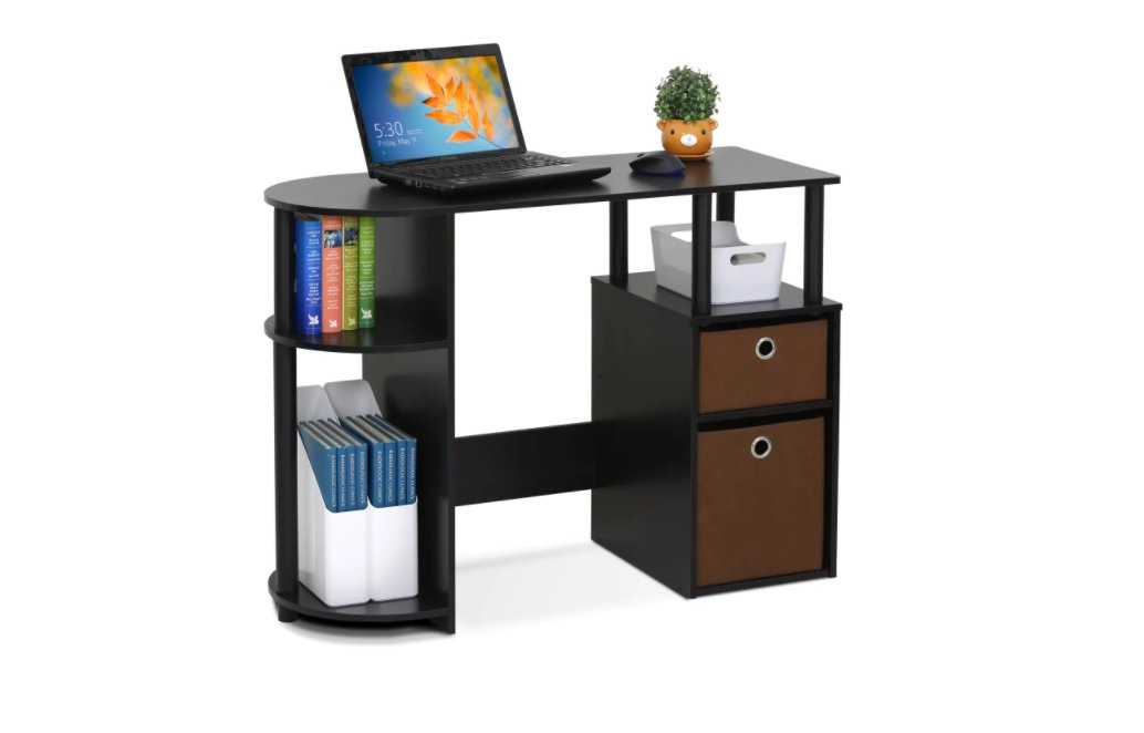 Compact Espresso Office- Student Desk with Bin Drawers. Desk Organizer Shaped is Perfect for Study, Work, Writing or Gaming. Computer, Laptop, Book are Welcome in this Wood Furniture. Fits Dorm Room