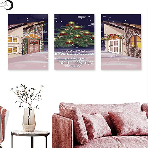 (J Chief Sky Christmas Wall hangings Winter Setting Streets Filled with Snow Traditional Pine Tree Ribbons Carol Quote Triptych Wall Art Multicolor Triptych Art Canvas W 20