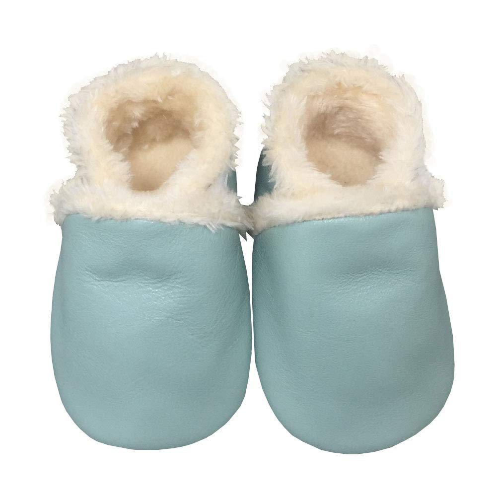 YFCH Toddler Baby Girls Boys Shoes Warm Fleece Soft Sole Leather Crawling Moccasins Winter Non-Slip Toddler First Walker Slippers 0-24 Months YFCH-F1499