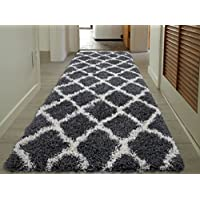 Sweet Home Stores Cozy Shag Collection Charcoal Moroccan Trellis Design Shag Rug Contemporary Living & Bedroom Soft Shaggy Runner Rug, Grey & Cream