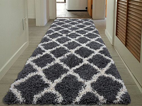 Sweet Home Stores Cozy Shag Collection Charcoal Moroccan Trellis Design Shag Rug Contemporary Living & Bedroom Soft Shaggy Runner Rug, Grey & Cream by Sweet Home Stores