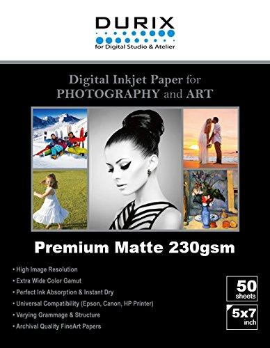 DURIX Premium Matte 230gsm Digital Inkjet Photo Paper (5-x-7/50sheets)