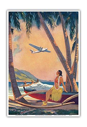 Canoe Pearl (Where Romance and Progress Meet - Hawaiian Hula Girl on Outrigger Canoe (Wa'a) at Pearl Harbor - Vintage Pin Up Calender Page by Frederick Heckman c.1941 - Hawaiian Master Art Print - 13 x 19in)